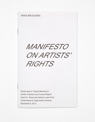"Publication design for Tania Bruguera's ""Manfesto on Artists' Rights,"" for Cranbrook Art Museum's ""Landlord Colors: On Art, Economy, and Materiality,"" curated by Laura Mott, 2019. Photo by PD Rearick"